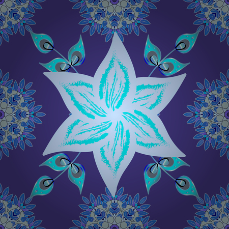 Flowers on violet, blue and neutral colors. Seamless Floral Pattern in Vector illustration. Illustration