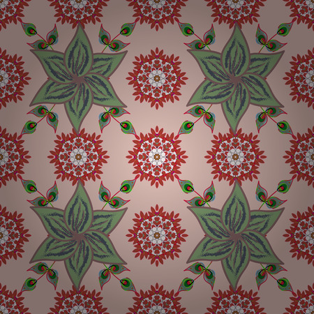 A Seamless pattern with bright flowering carpet of plants on a neutral, brown and blue colors.