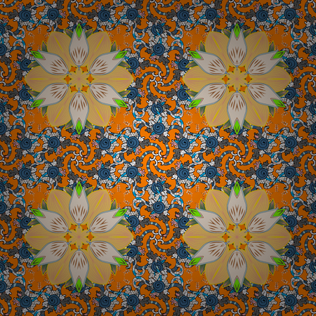 Flat Flower Elements Design. Flowers on orange, neutral and yellow colors. Seamless Floral Pattern in Vector illustration. Colour Spring Theme seamless pattern Background. Çizim