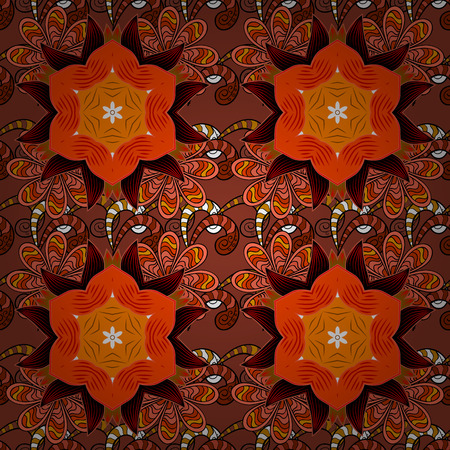 Flowers on orange, brown and black colors in watercolor style. Seamless floral pattern with flowers on orange, brown and black colors.