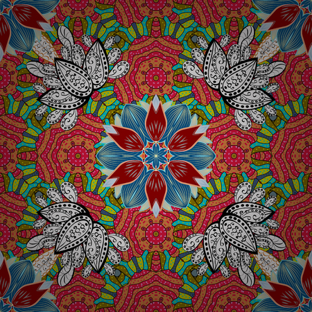 Seamless pattern with bright flowering carpet of plants on a red, blue and orange colors.