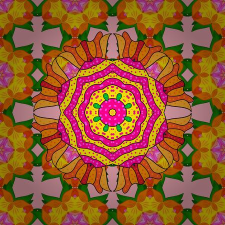 Boho style flower seamless pattern. Vector Mandala. Orange, yellow and neutral colors. Tiled mandala design, best for print fabric or papper and more.
