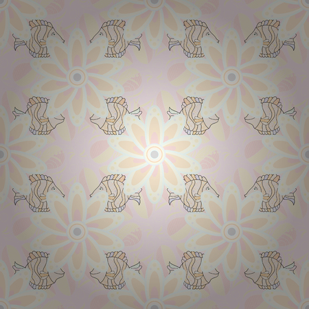 On neutral, beige and gray colors. A pattern of neutral, beige and gray daisies on a neutral, beige and gray colors. Vector illustration. Ilustrace