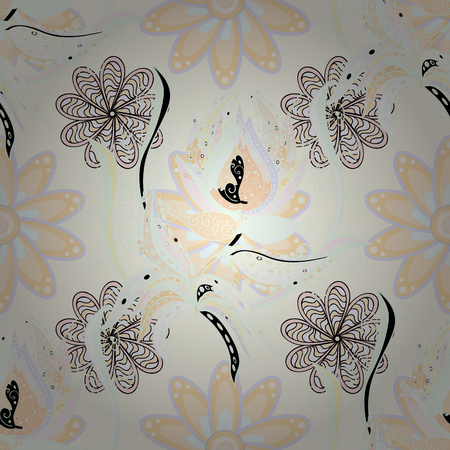 Floral seamless pattern background. Flowers on neutral, beige and gray colors. Flower painting vector for t shirt printing.