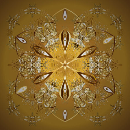 On colorful background. Vector golden snowflakes winter New Year frame.