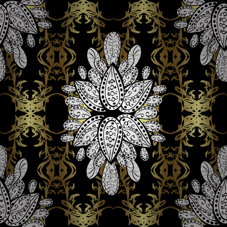 Damask seamless pattern repeating background. Antique golden repeatable sketch, golden element on black background. Golden floral ornament in baroque style.