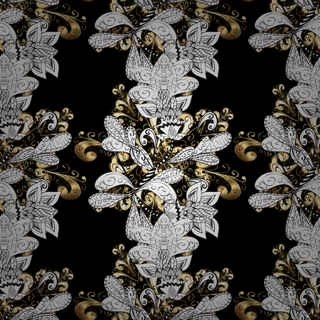 Vector golden textile print. Golden pattern on black, white and gray colors with golden elements. Stock Illustratie