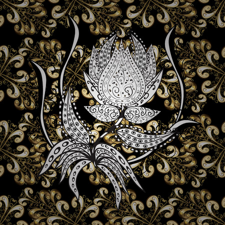 Golden pattern on black, white and beige colors with golden elements. Traditional classic golden pattern. Seamless oriental ornament in the style of baroque. Vector oriental ornament.