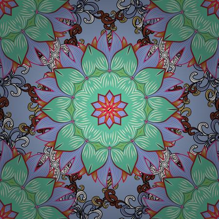 Flat Flower Elements Design. Seamless Floral Pattern in Vector illustration. Çizim