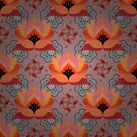 Folk style. Modern floral background. The elegant the template for fashion prints. Amazing seamless floral pattern with bright colorful flowers and leaves on a neutral, orange and pink colors.