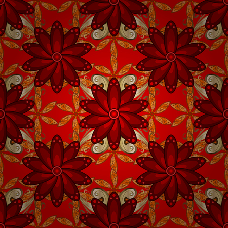 Boho abstract seamless pattern, colored tile mandala on a red, brown and orange colors with floral design element. Illustration