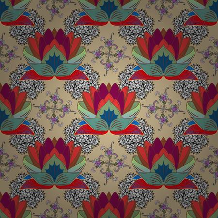 Flat Flower Elements Design. Vector illustration. Colour Spring Theme seamless pattern Background.
