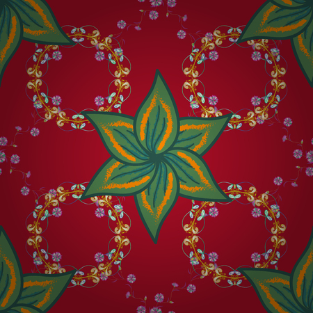 Vector illustration of seamless pattern of flowers, Gentle, spring floral on red, green and orange colors. Çizim