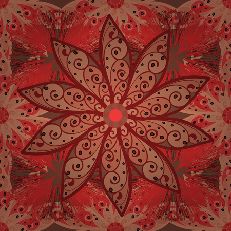 Flowers on orange, red and brown colors. Flower painting vector for t shirt printing. Floral seamless pattern background.
