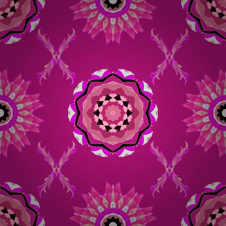 A Vector illustration. Flat Flower Elements Design. Colour Spring Theme seamless pattern Background. Cute floral elements. Seamless pattern Fashionable fabric pattern. Illustration