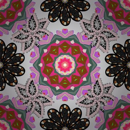 Floral neutral, pink and black seamless pattern. Vector flower print. Vintage outline illustration. Illustration