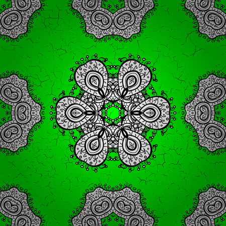 Patina. Luxury furniture. Carving. Small depth of field. Pattern on green background with elements. White tree with white trim. Furniture in classic style. Element woodcarving. Illustration