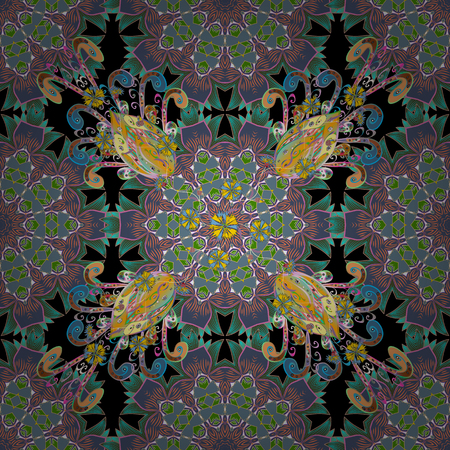 Seamless floral pattern on colorful illustration.