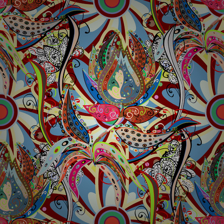 Flat Flower Elements Design. Colour Summer Theme seamless background.