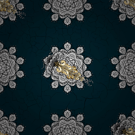 Gold blue floral ornament in baroque style on blue background.