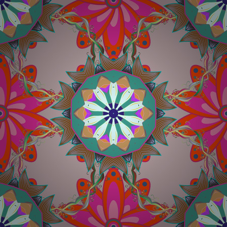 Abstract Flat Flower Elements Design in Coloured Spring Theme seamless pattern Background.
