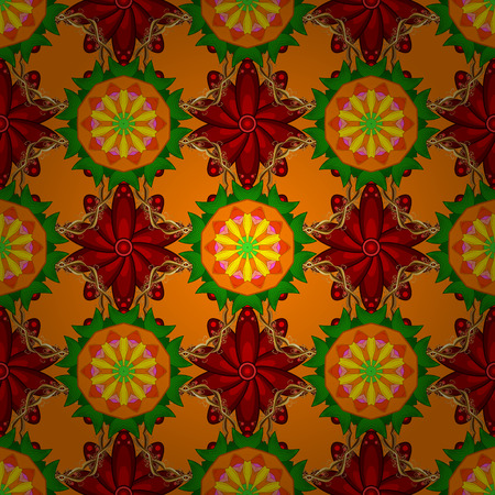 Vector illustration. Cute Floral pattern in the small flower in orange, red and green colors.