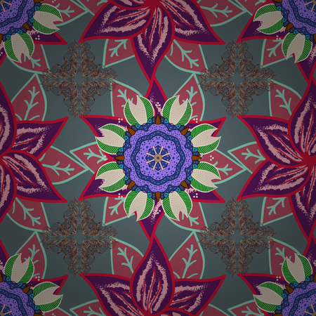 Seamless background. Vector design. For print on fabric, textiles, sketch. Vintage retro style. Seamless pattern with colorful paisley, neutral, purple and pink flowers and decorative elements. Иллюстрация