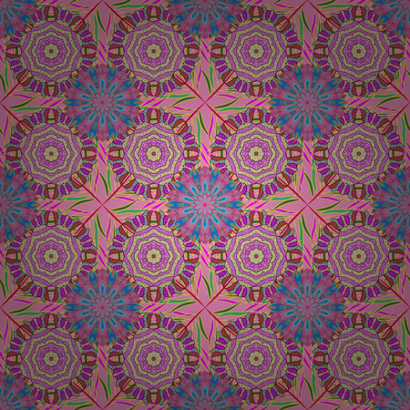 Seamless floral pattern in folk style with flowers, leaves.