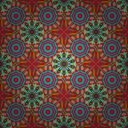 Abstract ethnic vector seamless pattern. Tribal art boho print, vintage flower background. Background texture, sketch, floral theme in red, blue and gray colors.