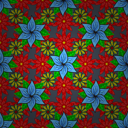 The elegant  template for fashion prints. Spring floral background with red, blue and green flowers. Small colorful flowers. Vector cute pattern in small flower. Motley illustration. Иллюстрация