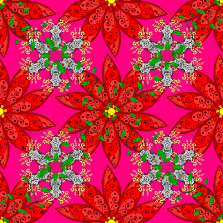 Colour Spring Theme seamless pattern Background. Flowers on red, magenta and green colors. Flat Flower Elements Design. Seamless Floral Pattern in Vector illustration.