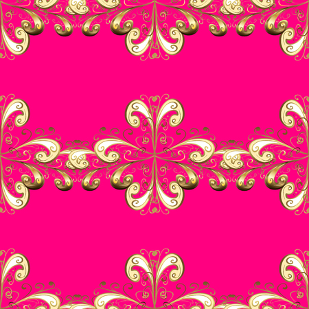 Seamless oriental classic golden pattern. Vector abstract background with golden repeating elements on a magenta, beige and brown colors. Illustration