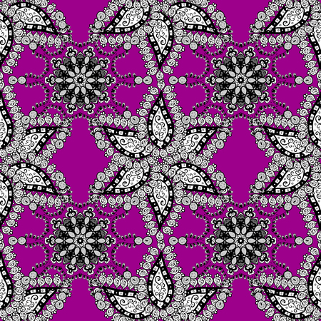 Curls with floral pattern. Vector colors floral ornament brocade textile pattern, white doodles. Vettoriali