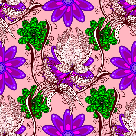 Vintage decorative elements. Oriental colored pattern on neutral, red and purple colors. Vector illustration. Abstract Mandala.