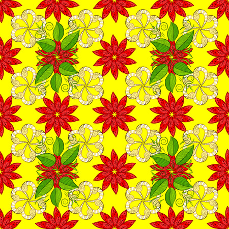 Vector sacred geometry round colored symbol with glowing stars on a yellow, red and green colors. Illustration