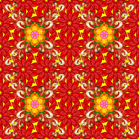 Hand drawn vector colored seamless pattern. Ethnic ornament on red, yellow and beige colors. Illustration