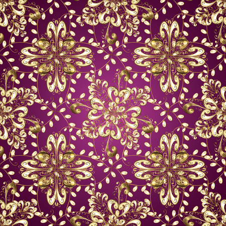 Cute Floral pattern in the small flower. Flowers on purple, beige and brown colors. Vector illustration. Vettoriali