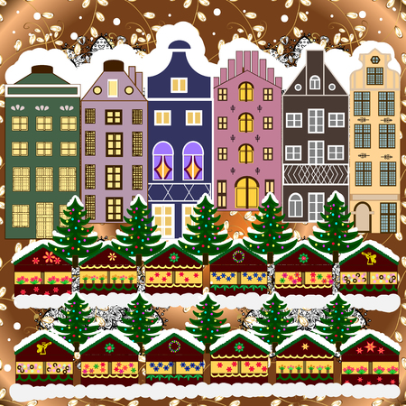 Urban winter landscape. Vector illustration. Snowy street. Christmas card Happy Holidays banner. Flat design.