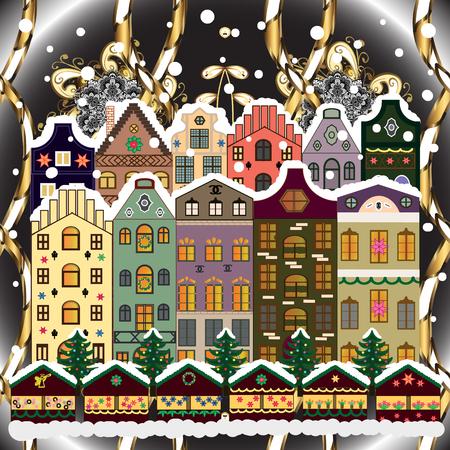 Vector illustration. Winter village night Christmas background. Ilustração