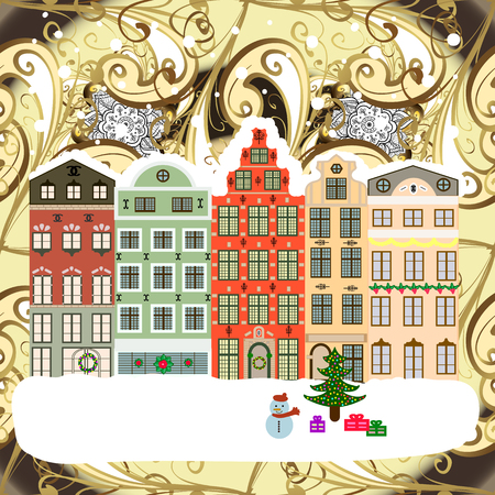 Classic European houses landscape with Christmas holiday decorations Vector illustration. Ilustrace