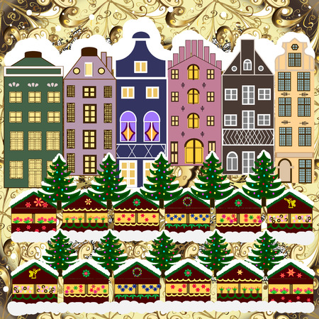 Christmas card Happy Holidays banner. Urban winter landscape.