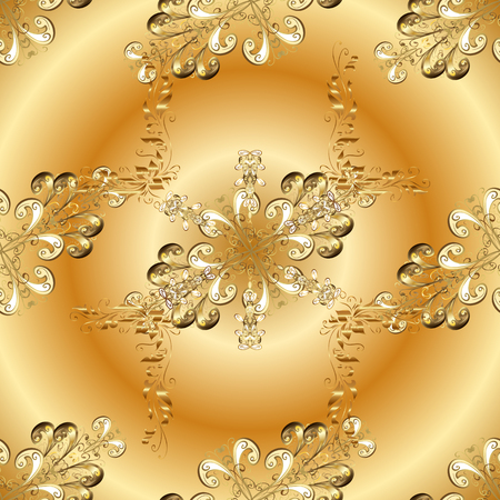 Cadre décoratif dessiné à la main à partir de feuilles de fantaisie doodle doré et de fleurs sur des couleurs jaunes.