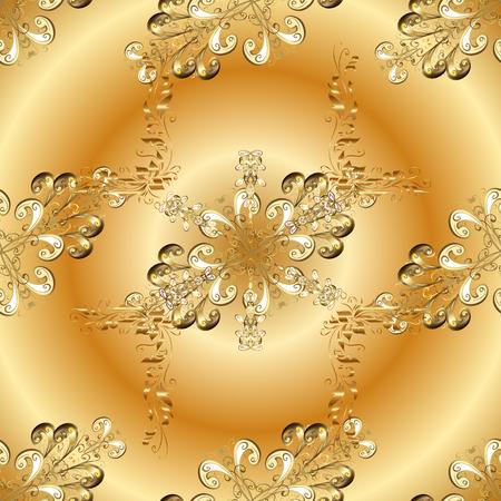 Hand gezeichneter dekorativer Rahmen von den goldenen Gekritzelphantasieblättern und -blume auf gelbe Farben. Standard-Bild - 96677092