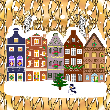 Nature landscape with Winter city with trees, cute houses. Landscape with nature and houses.