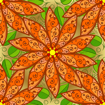 Flowers on orange, brown and green colors Seamless Floral Pattern in Vector illustration.