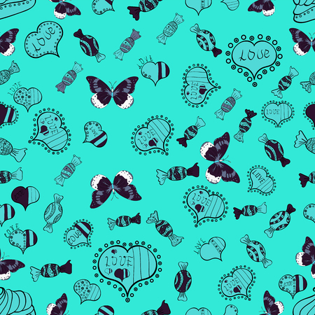 Seamless pattern of hearts, butterflies, candies on blue background. Vector illustration.