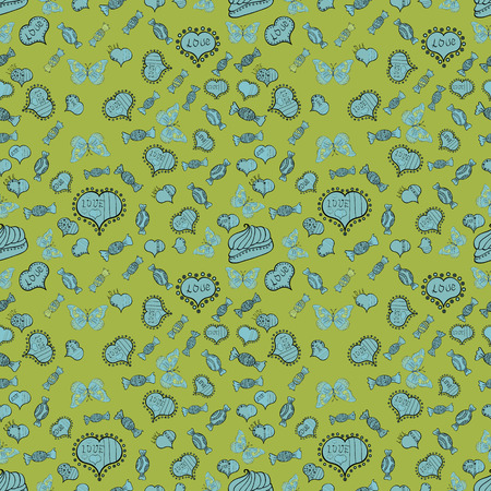 Seamless pattern of hearts, butterflies, candies on color background. Vector illustration.
