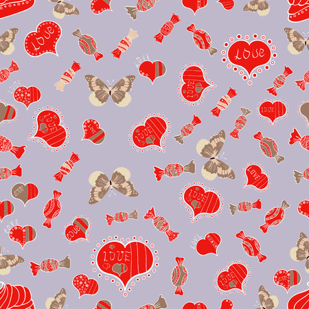 Valentines Day  concept, butterfly, heart, candy in seamless pattern Hand Drawn Doodles.