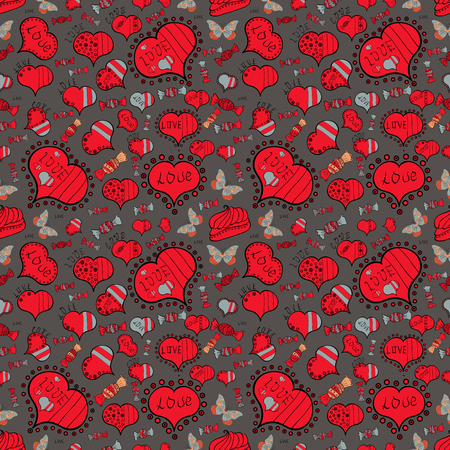 seamless pattern of butterflies, hearts and candies on color background. Vector illustration.