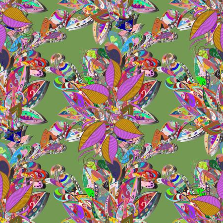Colour Summer Theme seamless pattern Background. Illustration